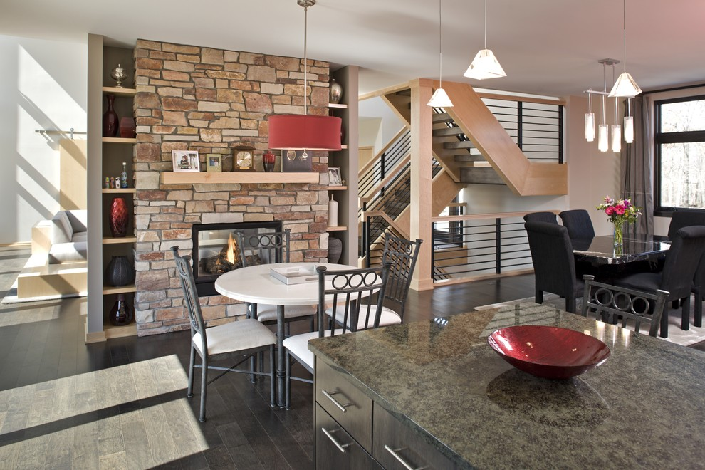 Kitchen Dinette Sets Dining Room Contemporary with Countertops Kitchen Eating Area Lighting Open Spaces Stone Fireplace