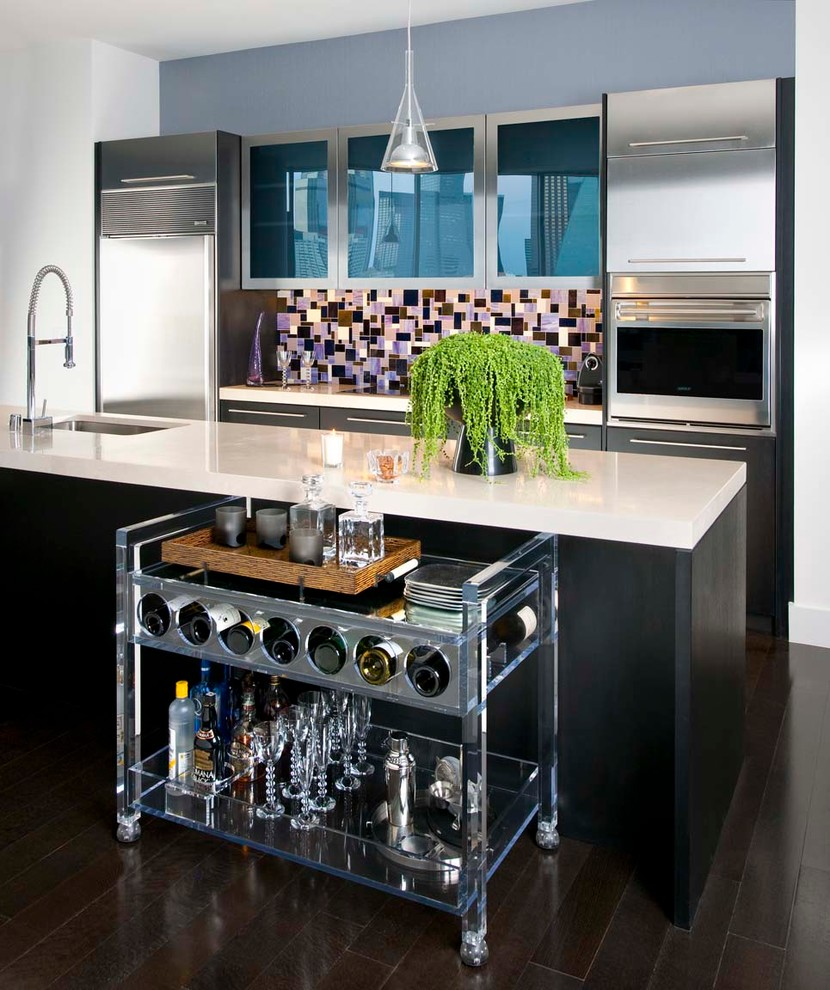 Kitchen Islands and Carts Kitchen Contemporary with Abstract Tile Backsplash Bar Cart Cabinetry with Colored Glass Panels Dark Floors