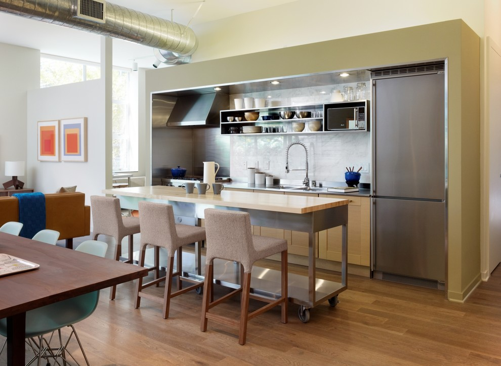 kitchen islands and carts Kitchen Modern with cart island exposed duct marble backsplash metal shelving movable island open floor