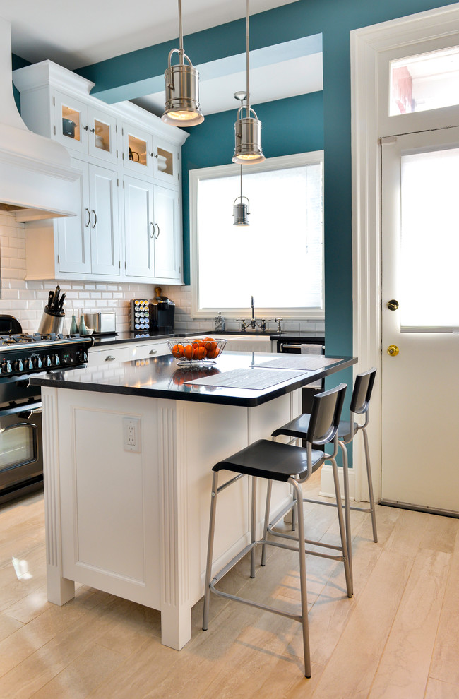 Kitchen Islands and Carts Kitchen Traditional with Black Accessories Blue Walls Kitchen Islands Carts Pendant Lighting Transom Windows White