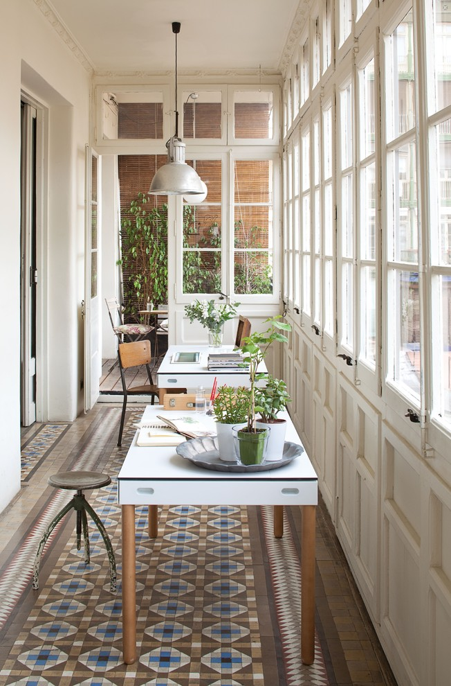Kitchen Table Centerpieces Home Office Contemporary with Antique Chairs Casement Windows Frame and Panel Woodwork Pendant Light Porch Stool