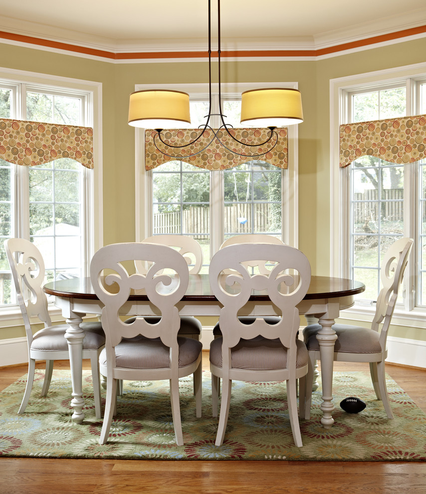 Kitchen Valance Dining Room Traditional with Area Rug Baseboards Chandelier Crown Molding Floral Rug Oval Dining Table Upholstered