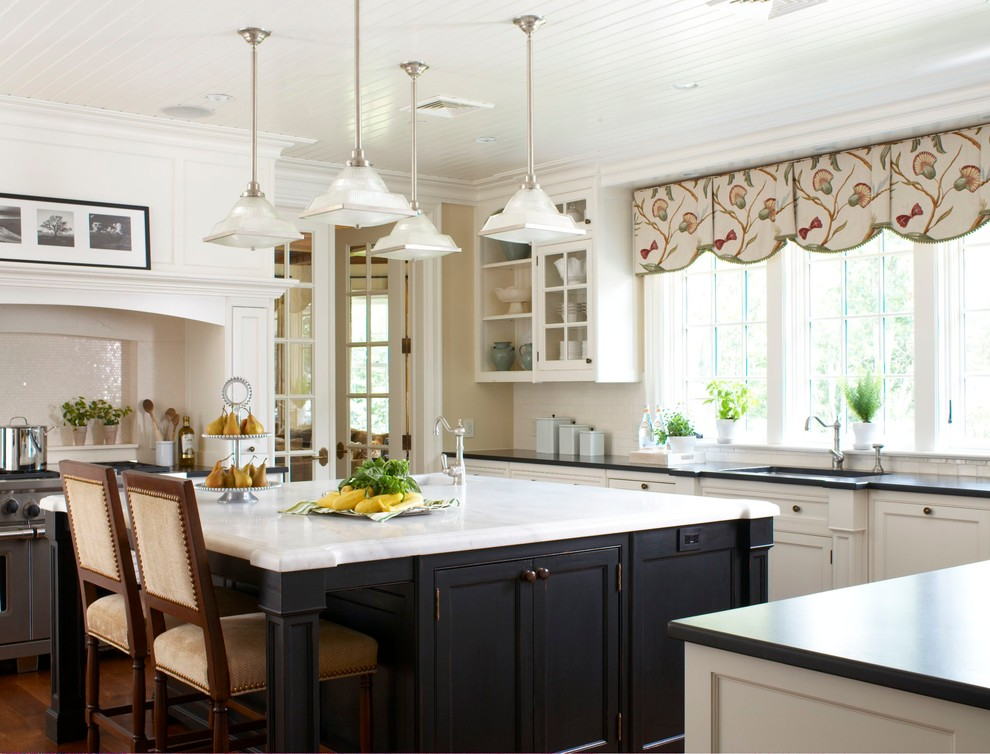 kitchen valance Kitchen Traditional with arches bead board ceiling beige counter stool black kitchen island cedar roof