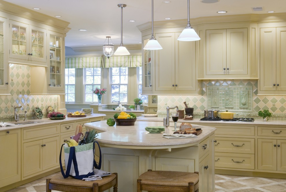 Kitchen Window Valances Kitchen Contemporary with Accent Tiles Breakfast Bar Ceiling Lighting Eat in Kitchen Floor Tile Design