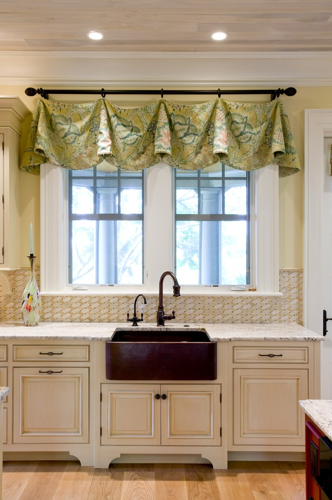 kitchen window valances Kitchen Eclectic with copper farm sink