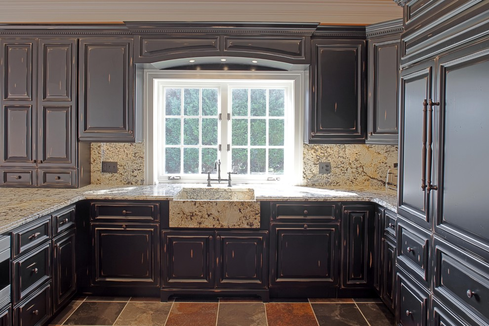 Kitchen Window Valances Kitchen Traditional with Apron Sink Black Cabinets Cabinet Front Refrigerator Crown Molding Dark Wood Cabinets