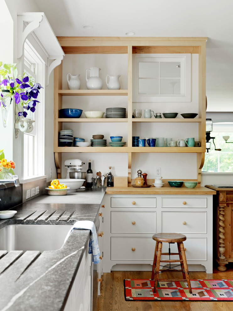 Kitchenaid Classic Kitchen Farmhouse with Butcher Block Crockery Drainboard Interior Window Natural Lighting Open Shelving Open Storage