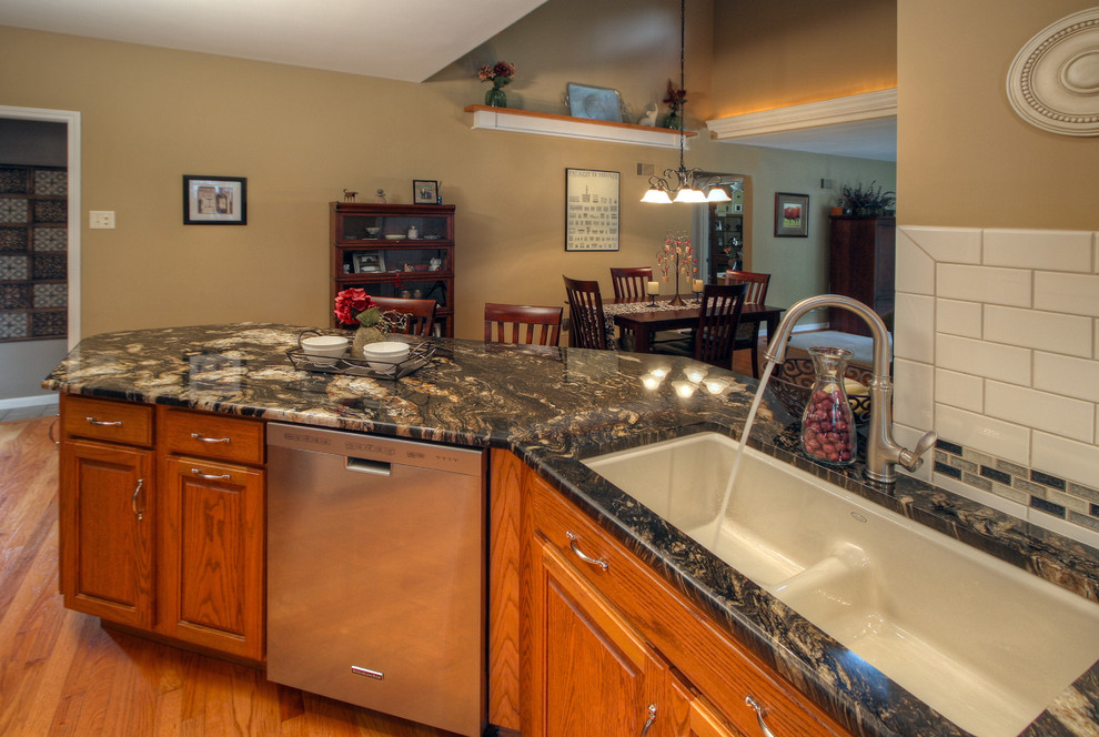 kitchenaid convection oven Kitchen Contemporary with ceramic tile backsplash dining area glass tile backsplash granite countertop kitchen hardwood