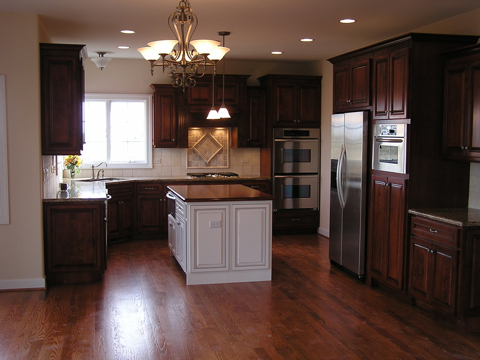 Kitchenaid Convection Oven Kitchen Traditional with Built in Microwave Central Vac with Vac Pan Custom Staggered Maple Cabinetry