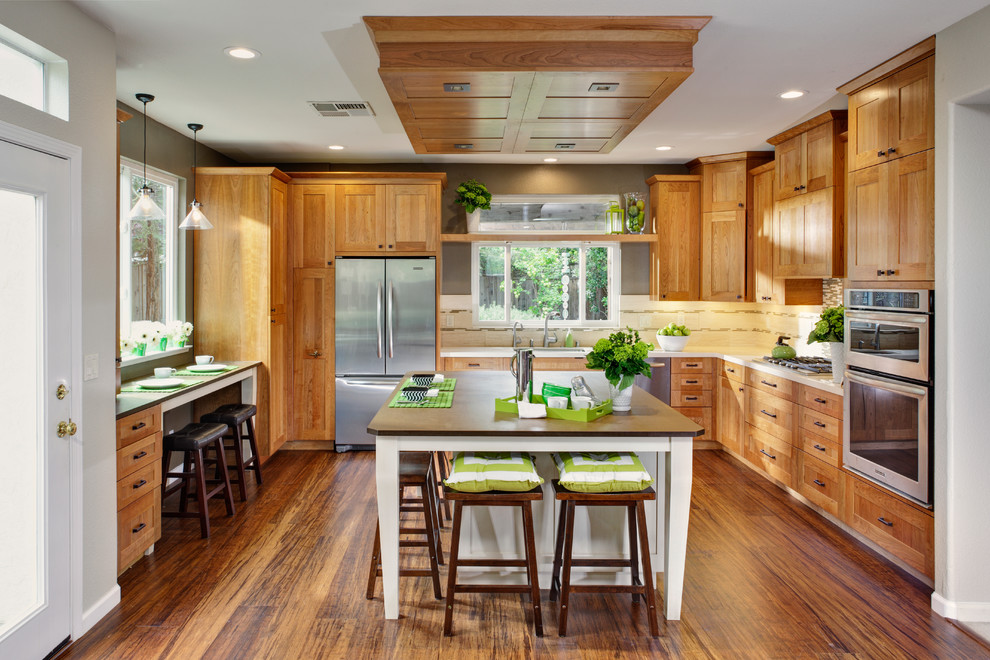 Kitchenaid Ultra Power Kitchen Contemporary with Backsplash Bamboo Breakfast Build Build It Green Built in Cabinetry Cherry Contemporary Convection