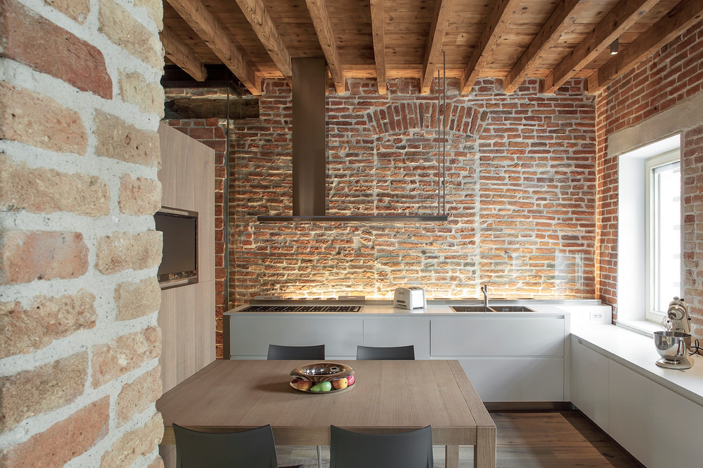 Kitchenaid Ultra Power Kitchen Contemporary with Brick Wall Country Eat in Kitchen Exposed Brick Filled in Window Kitchen Kitchen