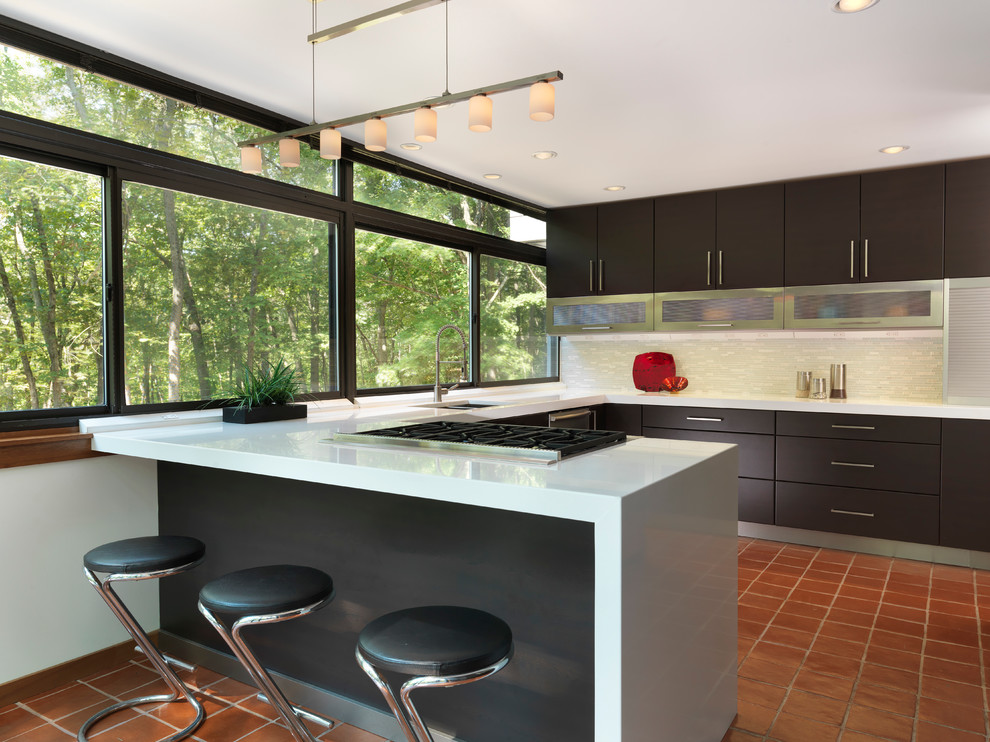 Kitchenaid Ultra Power Kitchen Modern with Built in Cabinets Clean Lines Counter Stools Flush Work Hanstone Linear Suspension