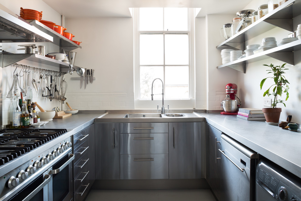 kitchenaid ultra power Kitchen Scandinavian with blackboard wall Floating Stainless Steel Shelves hanging utensils industrial faucet kitchen shelving