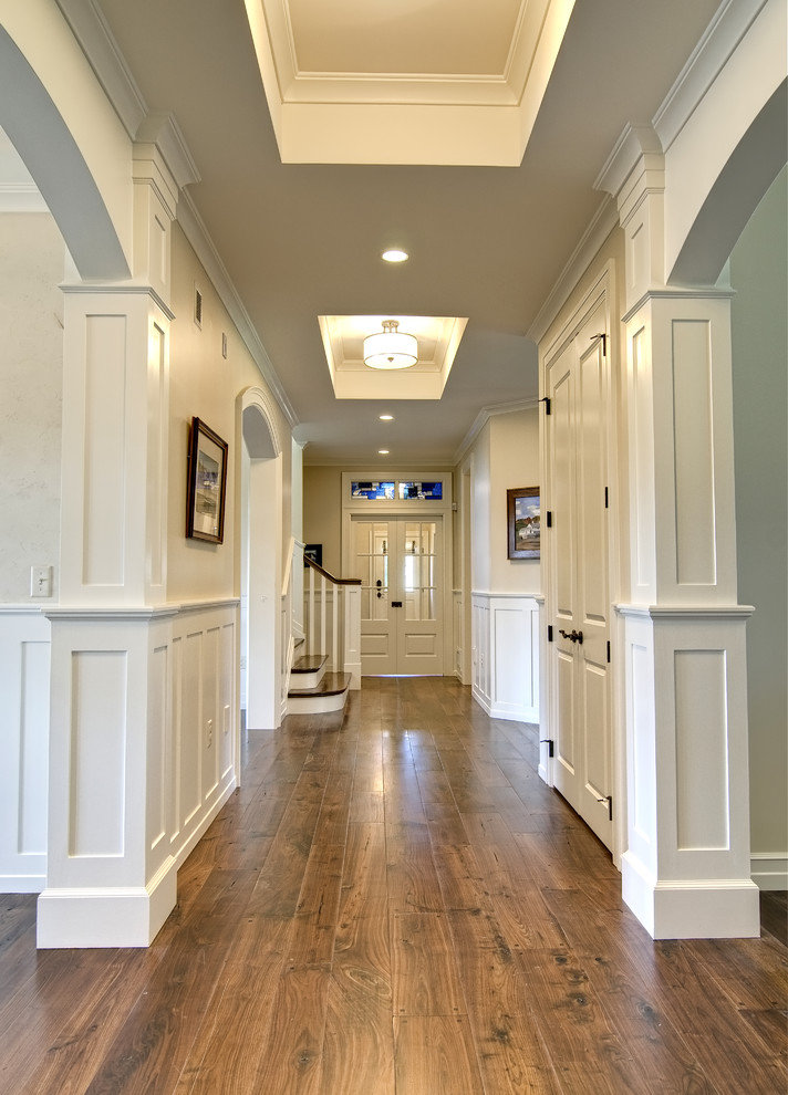 Kitchler Hall Traditional with Ceiling Light Coffered Ceiling Crown Moulding Custom Woodwork Double Doors Entry Foyer
