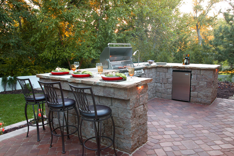 Kitchler Patio Traditional with Brick Patio Brick Paving Built in Grill Counter Grass Grill Integrated Grill Lawn