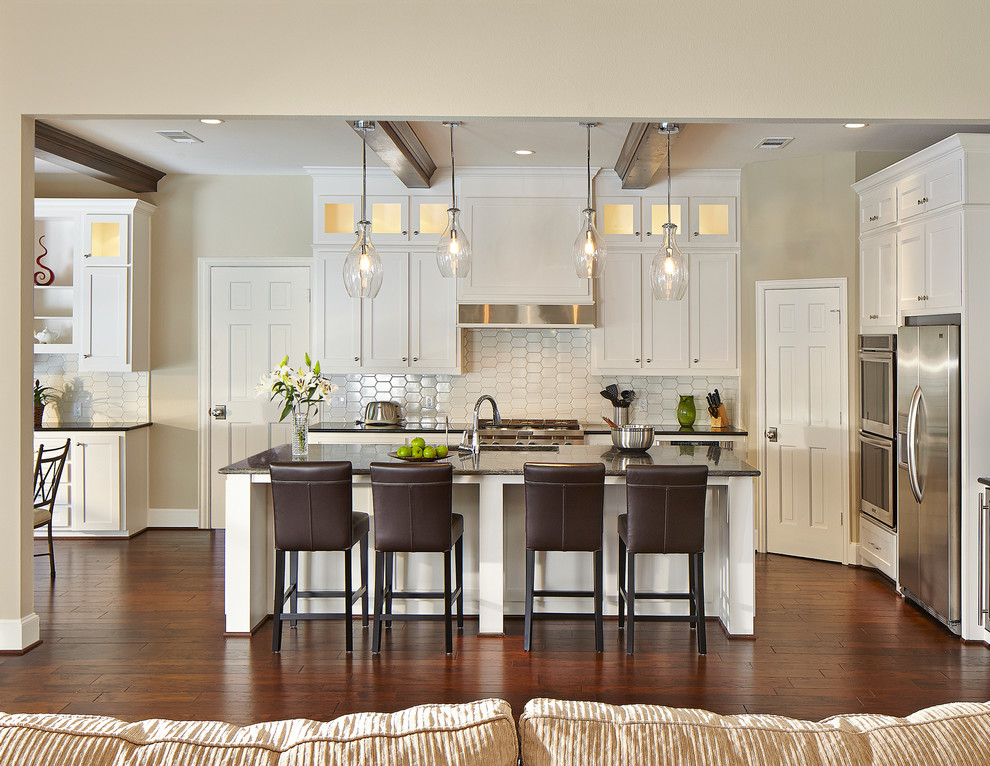Kitchler Lighting Kitchen Traditional with Apron Front Range Top Beige Wall Best Dallas Designers Remodelers Brown Leather