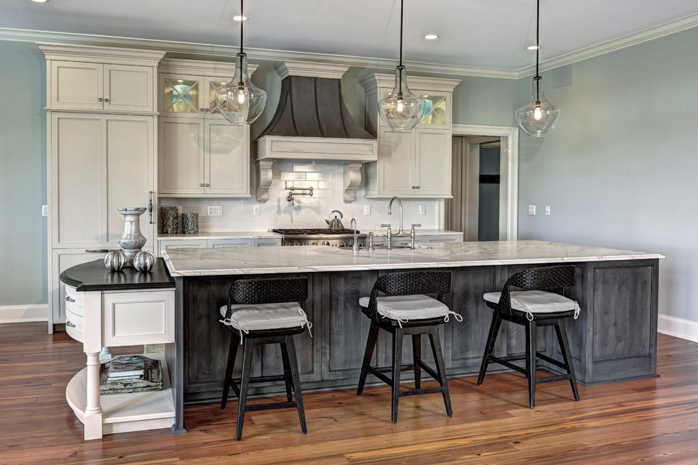 Kitchler Lighting Kitchen Traditional with Cooktop Counter Chairs Custom Doorway Gray Wall Grey Cabinets Hardwood Floor Integrated