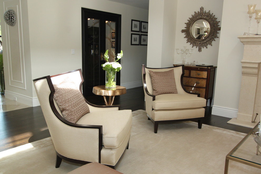Kneeling Chair Living Room Contemporary with Area Rug Baseboards Chest of Drawers Dark Floor Glass Coffee Table Neutral