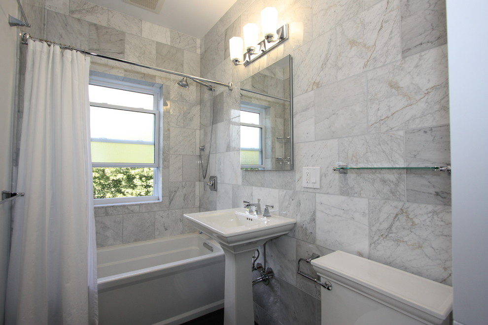 kohler archer Bathroom Eclectic with bath tub frosted glass glass shelf marble mirror pedestal sink shower curtain