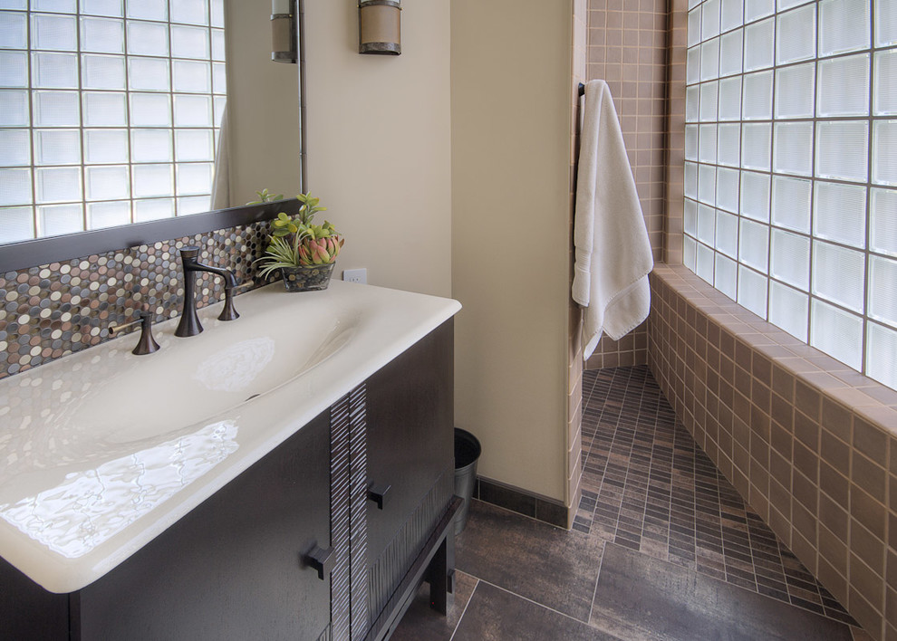 Kohler Bathroom Bathroom Contemporary with Black Frame Black Sink Cabinet Brown Floor Circles Curved Wall Dots Elongated