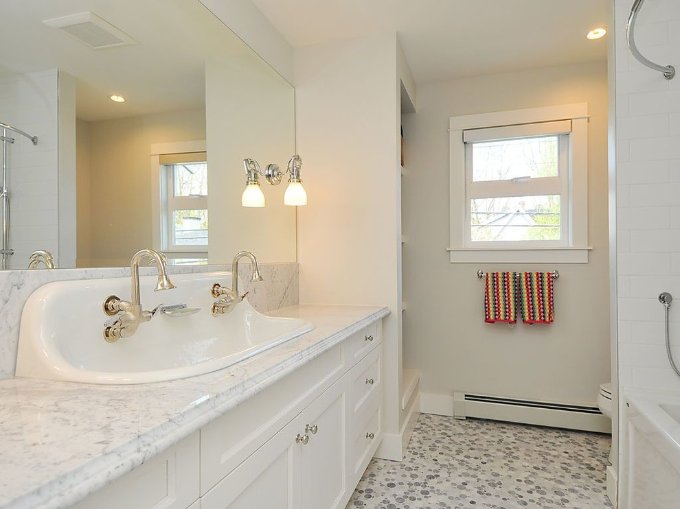 kohler bathroom Bathroom Traditional with double sink faucet kids marble marble counter mirror wall vanity white white