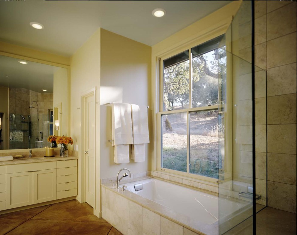 Kohler Bathtubs Bathroom Contemporary with Alcove Built in Shower Seat Ceiling Lighting Concrete Floors Daylighting Double Hung
