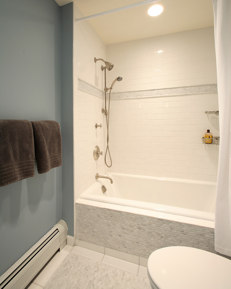 Kohler Bathtubs Bathroom Contemporary with Bathroom Blue and Brown Floor Heater Marble Marble Tiles Metal Shelves Mosaic