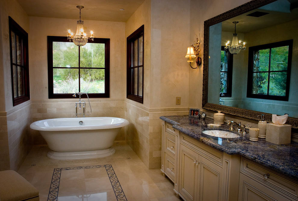 Kohler Bathtubs Bathroom Traditional with Alcove Bathroom Mirror Blue Granite Chandelier Classic Crystal Faux Finish Floor Tile