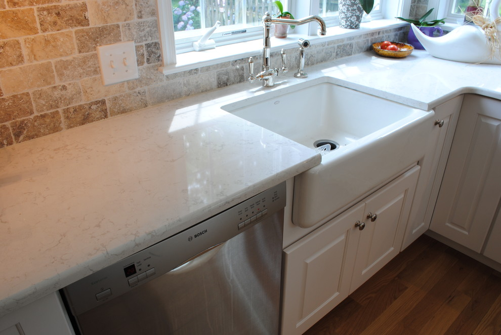 Kohler Farm Sink Kitchen Traditional with Alder Apron Front Sink Apron Sink Cabinetry Cambria Cambria Torquay Contrasting Island