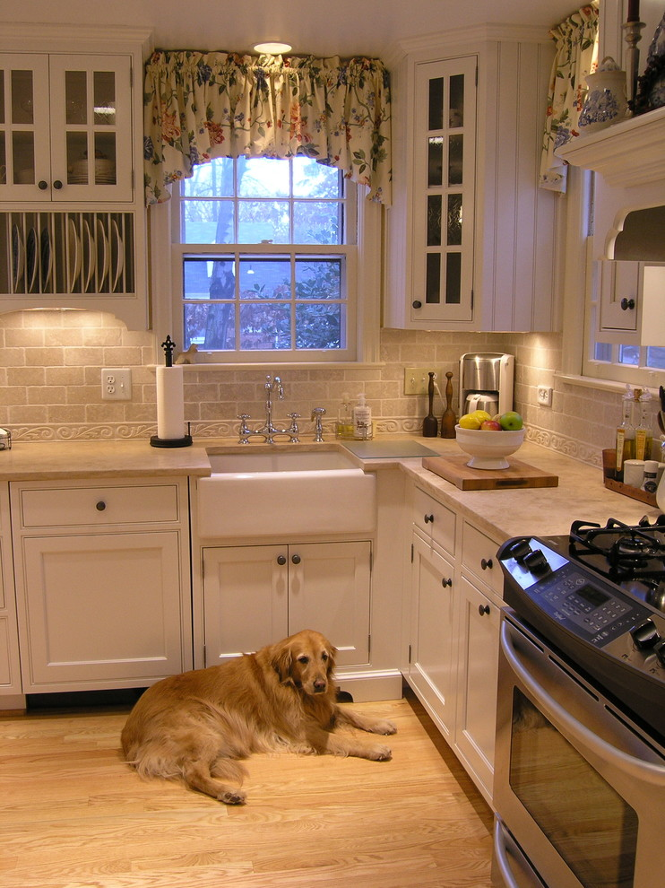 Kohler Farmhouse Sink Kitchen Traditional with Beadboard Custom Cute Dog Durango Limestone Farmhouse Farmhouse Sink Glass Doors Inset