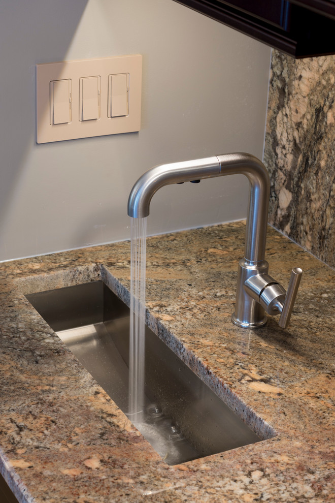 Kohler Kitchen Faucets Kitchen Traditional with Bar Sink Cabinet Pulls Cherry Cabinets Cream Cabinets Custom Cabinets Dark Cabinets