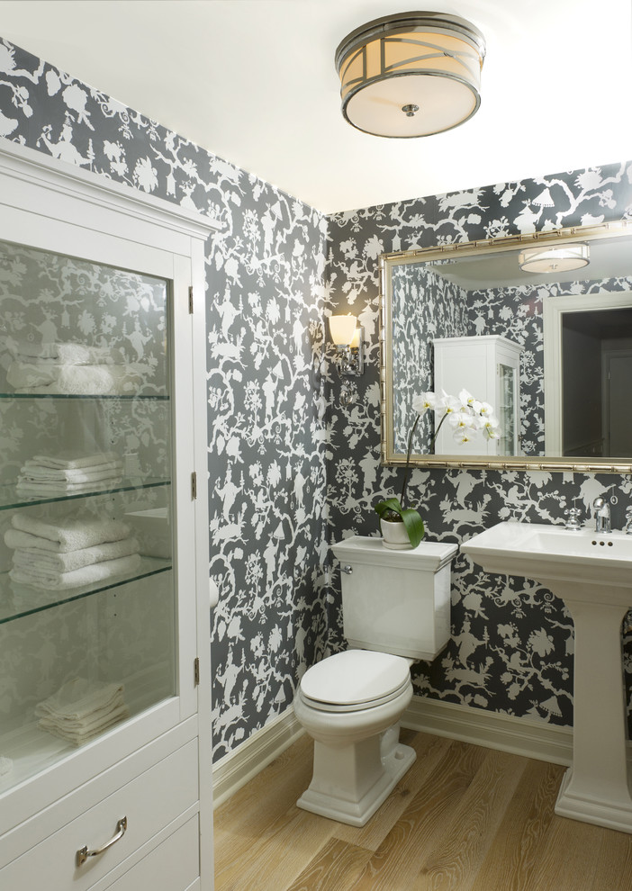 Kohler Memoirs Toilet Powder Room Traditional with Bathroom Mirror Floor Mount Toilet Glass Front Bathroom Cabinet Gray and White Wallpaper