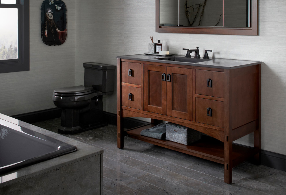 Kohler One Piece Toilet Bathroom Contemporary With Bath Cast Iron Top Drawers Drop In
