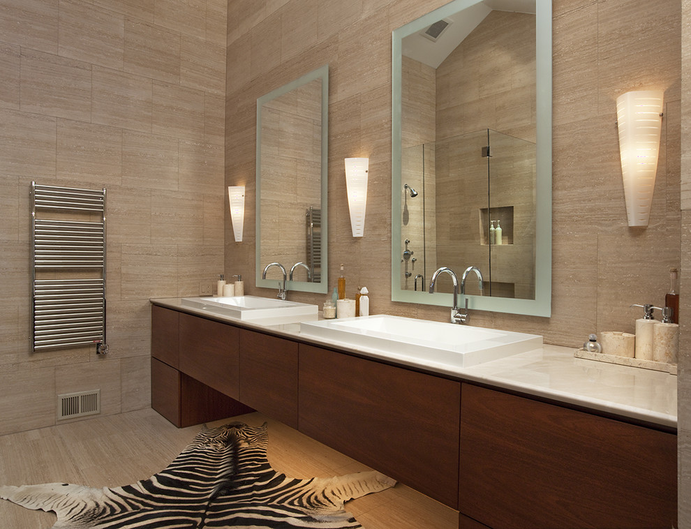 Kohler Purist Bathroom Contemporary with Backlighting Bath Accessories Bathroom Mirrors Double Sinks Double Vanity Minimal Neutral Colors