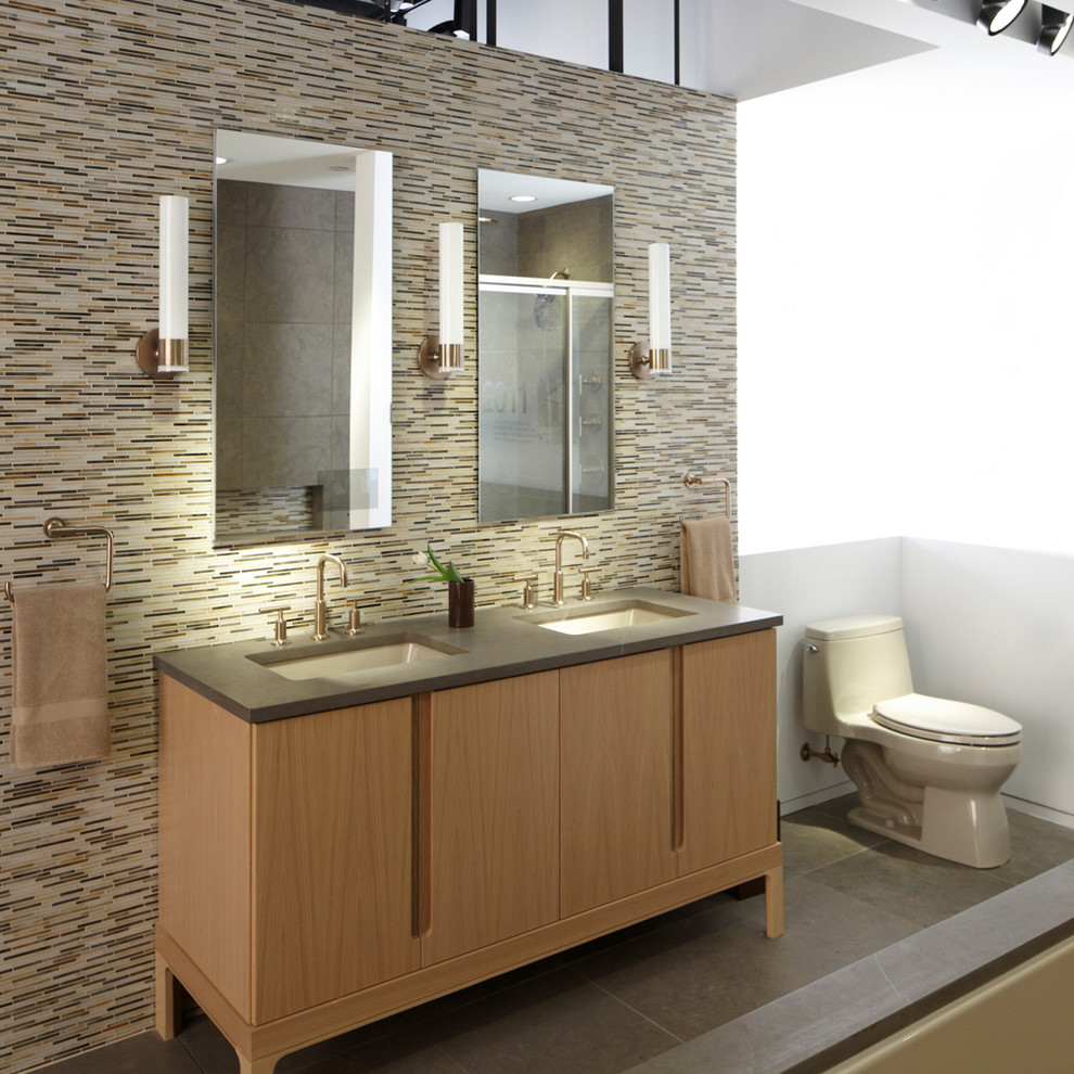 Kohler Santa Rosa Bathroom Contemporary with Bathtub Brushed Bronze Faucet Hand Shower Vanity Kohler Medicine Cabinet Rainshower Sconce