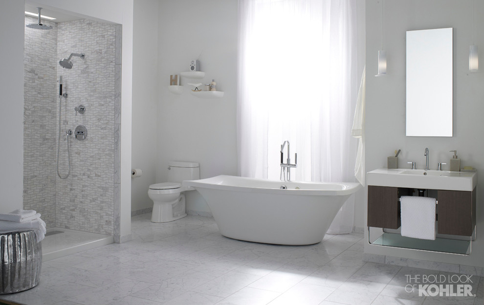 kohler santa rosa Bathroom Transitional with above toilet decor Clean bathtub dream shower free standing bath tub grey