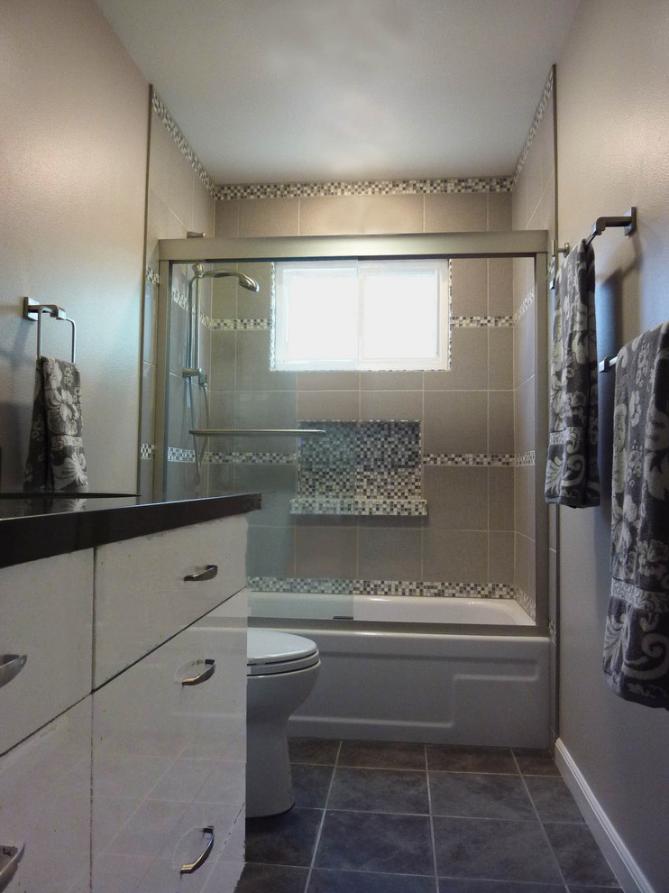Kohler Shower Doors Bathroom Contemporary with Bathroom Contemporary Bathroom Glass Mosaic Tile Gray Bathroom Horizontal Tile Pattern Kohler