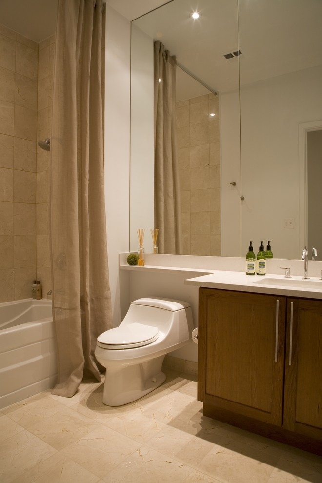 kohler toilets Bathroom Contemporary with beige mirror sheer shower curtain single sink tile floor travertine tub white