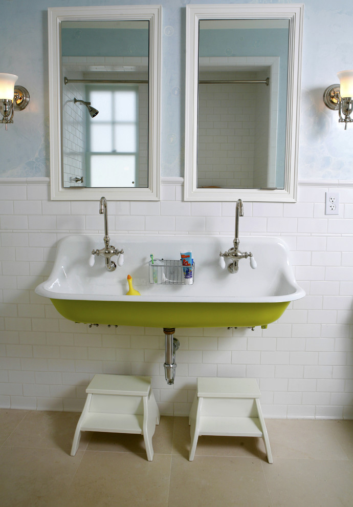 Kohler Vault Sink Bathroom Traditional with Double Faucet Framed Mirrors Kids Sink Lime Green Porcelain Knobs Step Stools