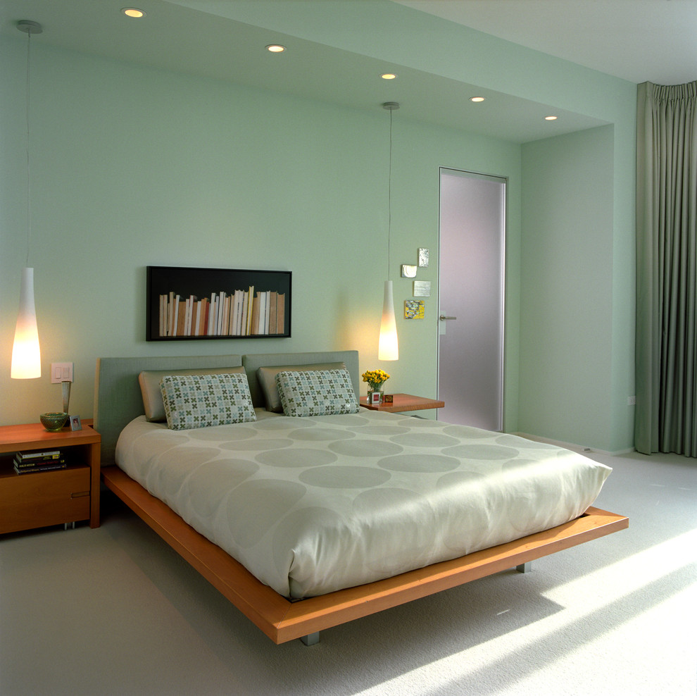 Konecto Flooring Bedroom Contemporary with Bed Pillows Bedside Lighting Bedside Table Ceiling Lighting Green Walls Nightstand Pendant