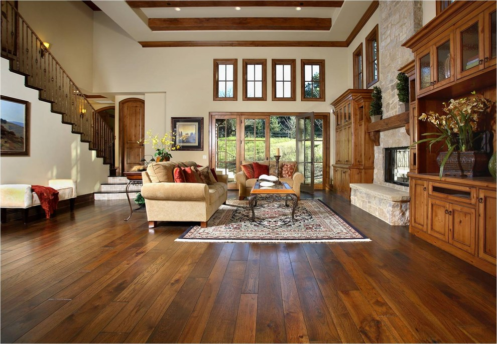 Konecto Flooring Living Room Traditional with Area Rug Clerestory Dark Floor Decorative Pillows Earth Tone Colors Entrance Entry