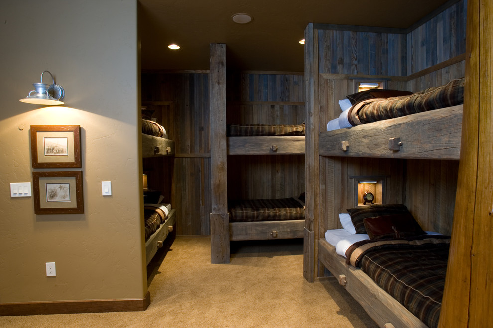 L Shaped Bunk Beds Bedroom Traditional with Beige Carpet Beige Wall Brown Bedding Bunk Industrial Wall Sconce L Shaped Bunk