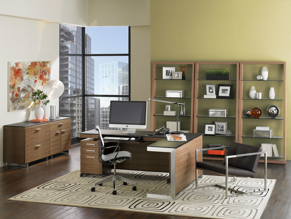 L Shaped Computer Desk Home Office Contemporary with Bdi Contemporary Design Contemporary Furniture Contemporary Office Contemporary Office Desk L Shaped