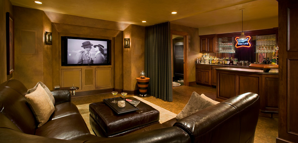 l shaped couches Basement Traditional with bar brown leather curtain panel dark stained wood home bar Neon Sign