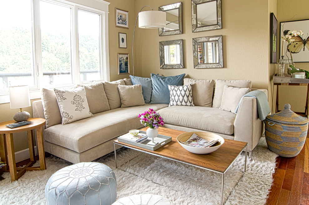 L Shaped Couches Living Room Shabby Chic with Antiqued Mirrors Blue and Brown Colour Scheme Corner Sofa Decorative Pillows Floor