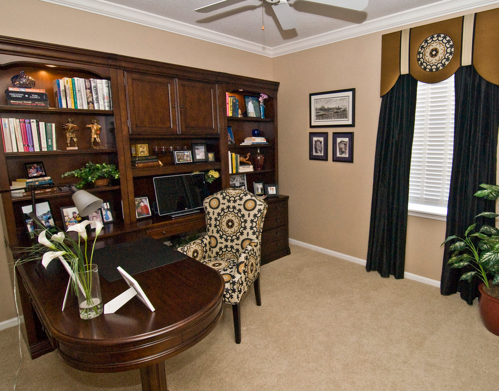 L Shaped Desk with Hutch Home Office Traditional with Black Drapery Cornice L Shaped Desk with Hutch Medallion Accent Chair Medallion