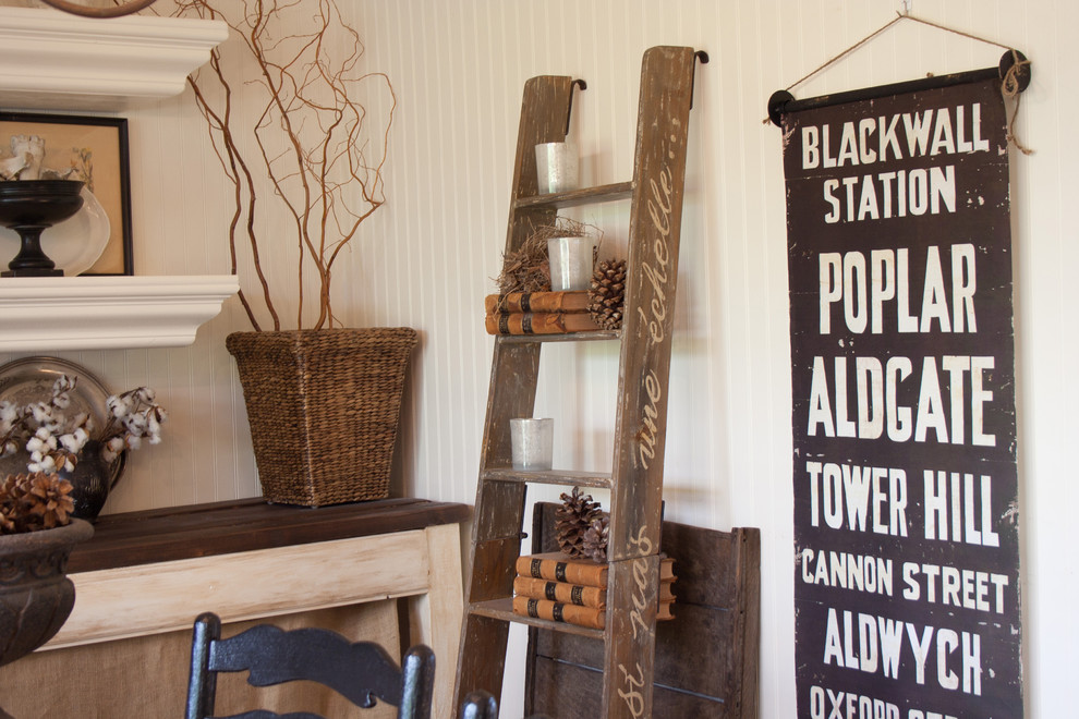 Ladder Shelf Dining Room Traditional with Bus Sign Farm Table Ladder Old Books Pinecones Subway Sign Typography Willow