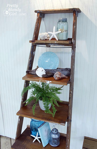 Ladder Shelf Porch Eclectic with None