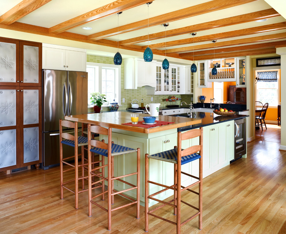 Ladderback Chairs Kitchen Traditional with Breakfast Bar Country Kitchen Eat in Kitchen Exposed Beams Green Cabinets Island