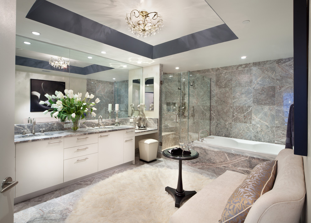 lambskin rug Bathroom Contemporary with black side table crystal chandlier custom mirror drop in tub frameless shower